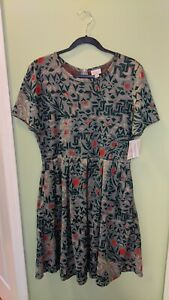 New LuLaRoe Amelia Dress Green With Red Jacquard Fabric Size 3XL