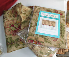 WAVERLY Panels Curtains Set NEW 5PCS IMPERIAL DRESS ANTIQUE tan burgundy