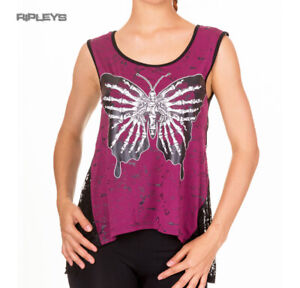 BANNED Goth Oversized Vest Top BUTTERFLY Bones Purple All Sizes