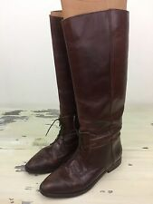 MARC ALPERT MARIA PIA - Vtg Lace-up Brown Leather Tall Riding Boots, Org Box, 7