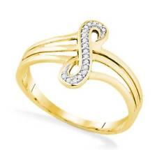 10K Yellow Gold Diamond Infinity Symbol Ring .04ct Micro Pave Diamod Split Band