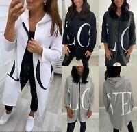 Women's Ladies Love Print Zip Up Longline Hooded Jacket Sweatshirt Dress Top