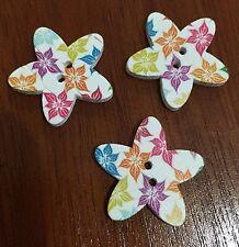 10 X Tropical Flower Patterned Star Wooden Buttons - Australian Supplier