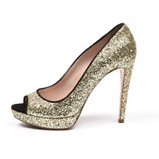 MIU MIU Shoes Gold Glitter Peep Toe High Heel Size 39.5