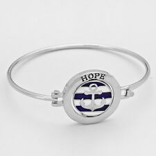 Anchor Bracelet Hope Never Give Up Hinge Bangle SILVER Nautical Message Jewelry