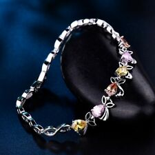 Fashion Lady Girls Colorful Cubic Zirconia CZ Silver Rabbit Bracelet Chain Gift