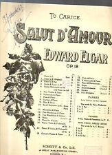 SC7 SPARTITO Salut d'amour Edward Elgar Op. 12 piano Schott & Co Ltd
