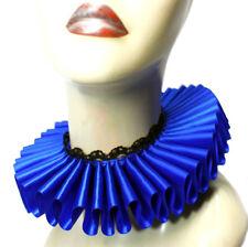 Ruffled Collar Royal Blue Satin Lace Elizabethan Neck Ruff Victorian Steampunk