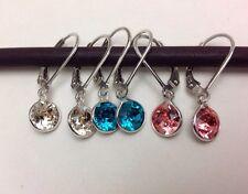 3PAIRS 925 Sterling Silver Swarovski Crystal Elements XIRIUS Leverback Earrings