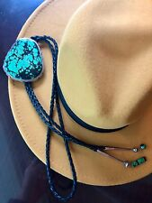 Turquoise Bolo Tie, LARGE, Necklace, Sterling, Native American, Signed