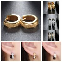 Circle Ear Stud Round Hoop Earrings Fashion Stainless Steel Party Jewelry Scrub