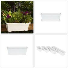 "18"" Plastic Window Box Planter Garden Plant Flower Outdoor Pot White Drainage"