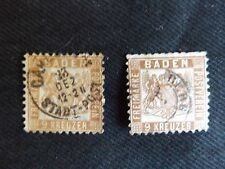 Germany States Baden 1862-65, PAIR OF 9 Kr STAMPS, DULL BROWN AND BROWN