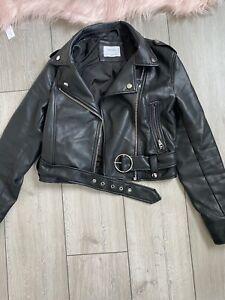 Bershka Leather Jacket Faux Size L Large Biker Style 10-14