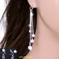 "#E122T 3.2"" Long NON-PIERCED CLIP ON EARRINGS Dangle Tassel Bar Crystal Sexy New"