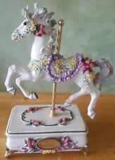 1995 San Francisco Music Box Company Carousel Horse Tulip Prance Play Canon In D