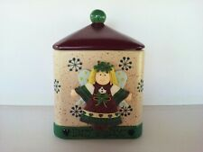 Vintage Bico Happy Holidays Clay raised Dough Angel  Cookie Jar / Snack Canister