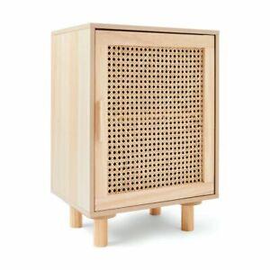 New Solid Pine & Rattan Bedside Table Storage Cabinet single door  AU