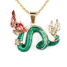 Sweater Chain Long Necklace Gift New Jewelry Enamel Crystal Dragon Pendant