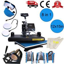 "8in1 12""x15"" Combo Kits Heat Press Transfer Mug Plate Machine Multifunctional US"