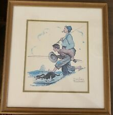 "(Make Offers): Vintage Rare Norman Rockwell ""Going Fishing"" Framed Print. CoA."