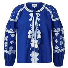 SEED HERITAGE Boho Blue Folk Embroidered Top 8