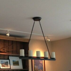 5-light Linear Pendant - Bronze with Frosted Glass Shades INCLUDES LED'S