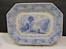 19th Century Blue Transferware Platter Tivoli C. Meigh Bucolic English Scene