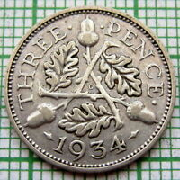 GREAT BRITAIN GEORGE V 1934 THREEPENCE 3 PENCE, SILVER