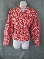 Liz Claiborne Red & White Floral Denim Jean Jacket Size Medium