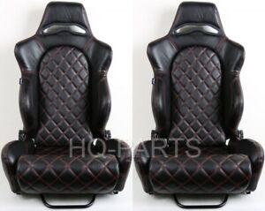 2 TANAKA BLACK PVC LEATHER RACING SEAT RECLINABLE RED DIAMOND STITCH FITS SUBARU