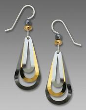 Adajio Earrings Silver Hook 3-Part Open Teardrop in Hematite, Gold & Silver Tone