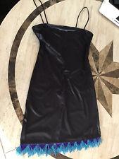 Vintage Black Shiny Leather Like Stretchy Beeded Bottom Cocktail Dress Short M