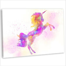 Unicorn Canvas Print Framed Animal Painting Wall Art Picture Pink