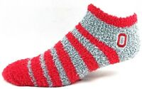 Ohio State Buckeyes NCAA Red Gray Fuzzy Quarter Socks