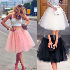 Women Princess Ballet Tulle Pleated Tutu Skirt Wedding Prom Party Bouffant Dress