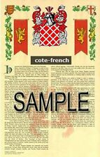 COTE Armorial Name History - Coat of Arms - Family Crest GIFT! 11x17