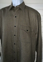 IKE BEHAR New York Sz MEDIUM Button Front L/S Khaki Black Plaid Cotton Shirt EUC