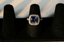 .925 Sterling silver London blue Topaz CZ ring 3.2 grams Size 6 3/4