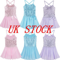 UK Girls Sequined Ballet Dance Dress Child Performing Show Costumes Fairy Tutus