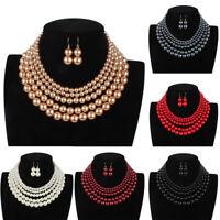 Luxury Multi-Layer Pearl Statement Women Wedding Necklace Earring Jewelry Sets