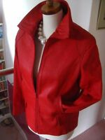 Ladies VINTAGE red leather JACKET COAT size UK 12 10 flight bomber biker M&S