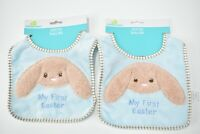 2-pack of Baby Blue Bibs My First Easter with Bunny Rabbit