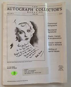 The Autograph Collector's Magazine April 1991 Vol 6 No 4 Bette Davis Artwork