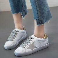 Womens Star Retro Sneakers Lace Up Low Wedge Heel Chic Comforts Shoes Autumn