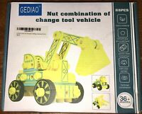 NEW Gediao 68 Pc. Deluxe Wood Building Set DIY Nut & Bolts Construction Vehicles