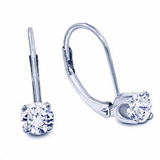 1/4cttw Natural Diamond Drop Earrings in 14K White Gold Leaverback Settings