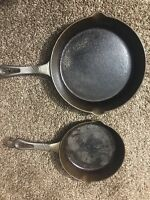 """Vintage Pair Cast Iron Skillets Frying Pans  Cookware Keilen 10"""" And 8"""""""
