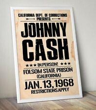 More details for johnny cash poster, folsom prison poster, vintage rock band print, gift for him