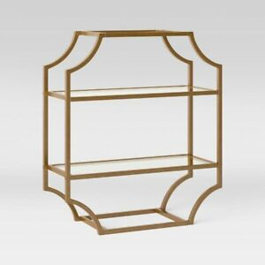 "THRESHOLD Metal/Glass Wall Cabinet | 24"" x 20"" x 8"" | Brass | 🆕"